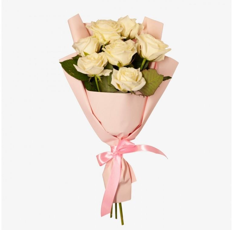 Букет 7 Белых Роз (Аволанж 60см)