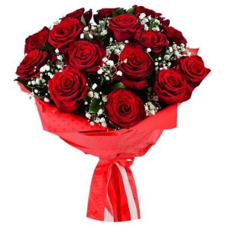 Букет 21 роза и гипсофила